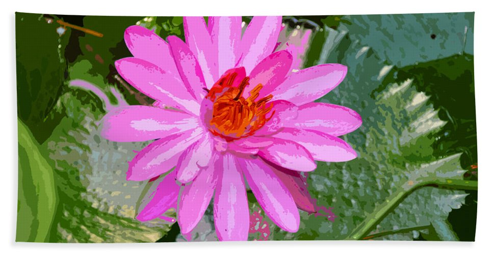 Flower Hand Towel featuring the painting Radiant Pink by David Lee Thompson