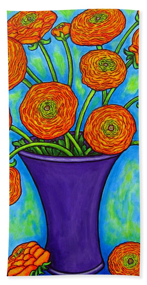 Green Bath Sheet featuring the painting Radiant Ranunculus by Lisa Lorenz
