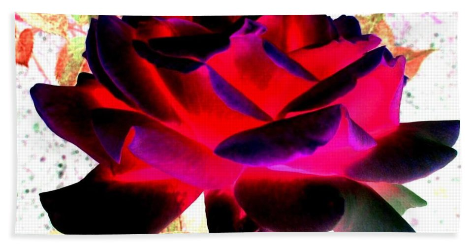 Rose Hand Towel featuring the digital art Radiant Red Rose by Will Borden