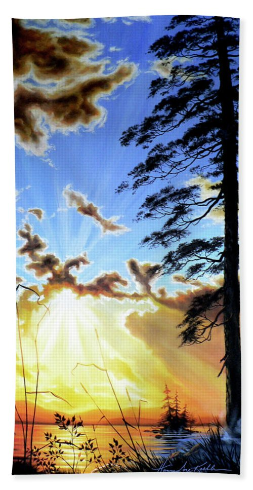 Sunrise Hand Towel featuring the painting Radiant Reflection by Hanne Lore Koehler
