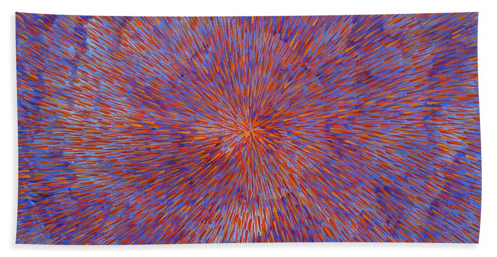 Abstract Bath Towel featuring the painting Radiation With Blue And Red by Dean Triolo