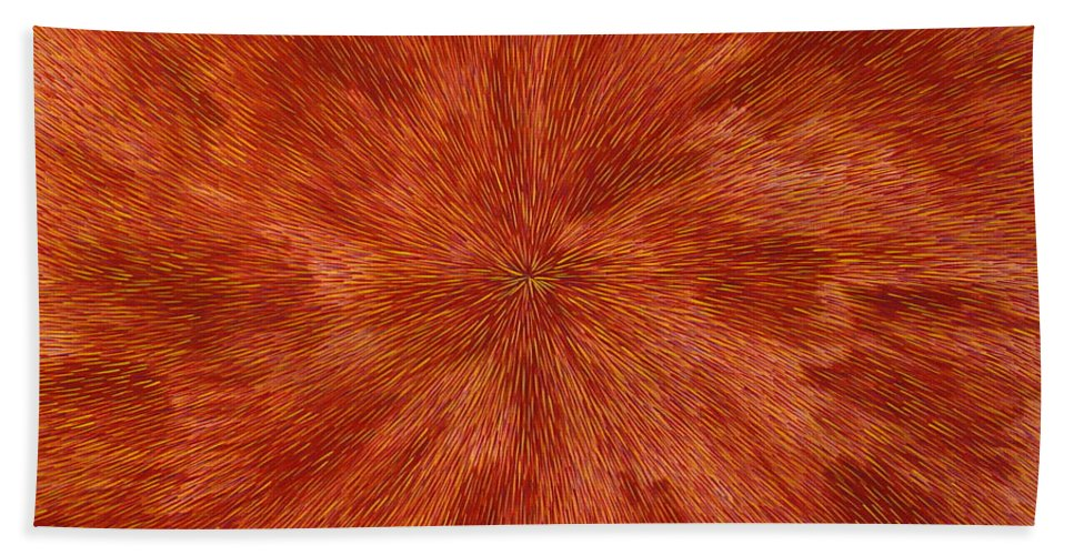 Abstract Bath Sheet featuring the painting Radiation With Brown Yellow And Voilet by Dean Triolo