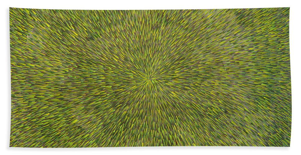 Abstract Hand Towel featuring the painting Radiation With Green With Yellow by Dean Triolo