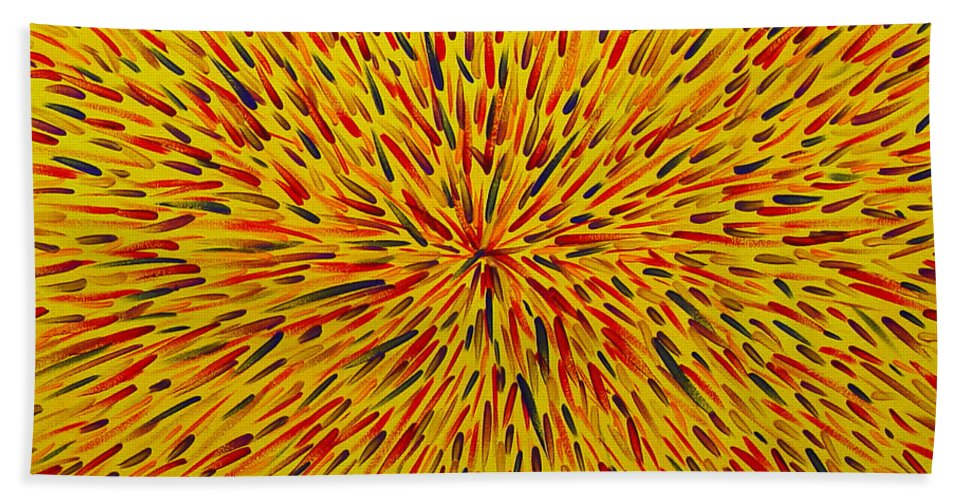 Abstract Hand Towel featuring the painting Radiation Yellow by Dean Triolo