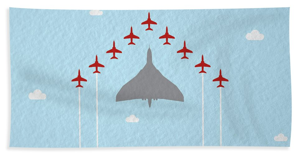 Reds Bath Towel featuring the photograph Raf Red Arrows In Formation With Vulcan Bomber by Samuel Whitton