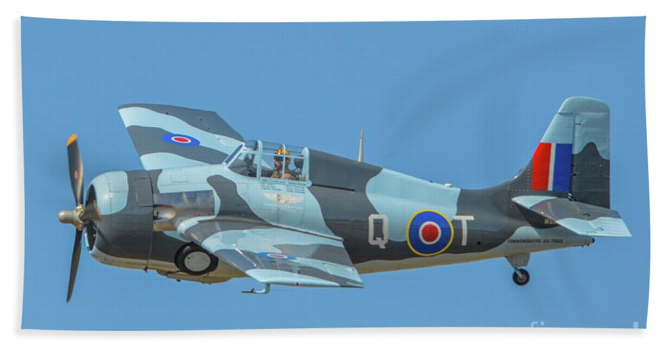 General Motors Fm-2 Wildcat Bath Sheet featuring the photograph Raf Wildcat Fm-2 by Tommy Anderson