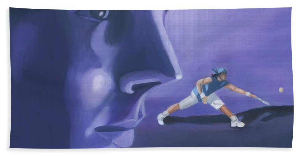 Raphael Hand Towel featuring the painting Rafael Nadal by Quwatha Valentine