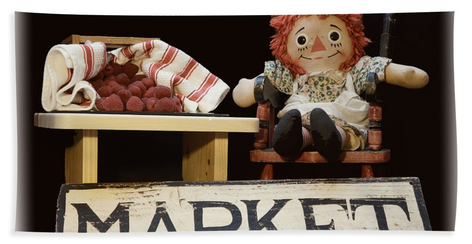Raggedy Ann Hand Towel featuring the photograph Raggedy Ann Selling Raspberries by Pamela Walton