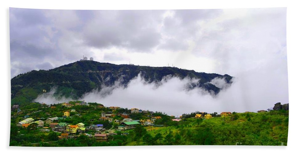 Baguio Bath Sheet featuring the photograph Raging Clouds On The Village by Christopher Shellhammer