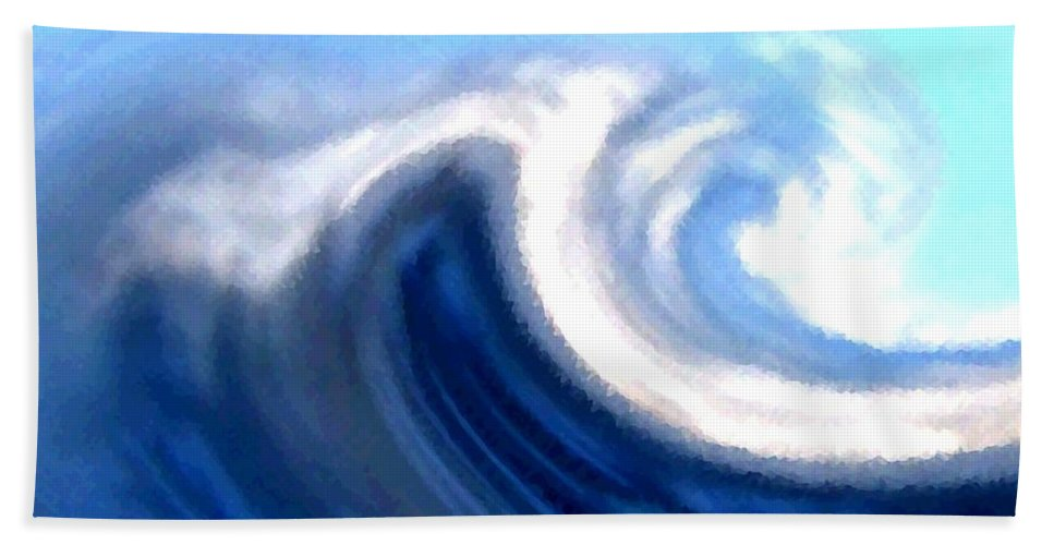 Abstract Hand Towel featuring the digital art Raging Sea by Will Borden