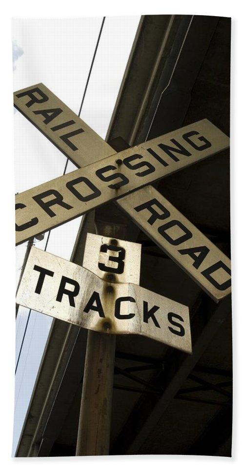 Railroad Sign Bath Sheet featuring the photograph Rail Road Sign by Sara Stevenson