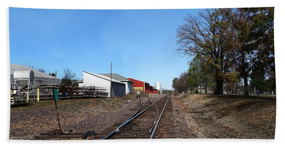 Illinois Bath Sheet featuring the photograph Railroad Tracks Switch Station by Theresa Campbell