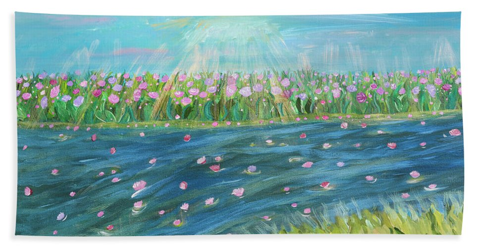 Landscape Hand Towel featuring the painting Rain And Shine by Sara Credito