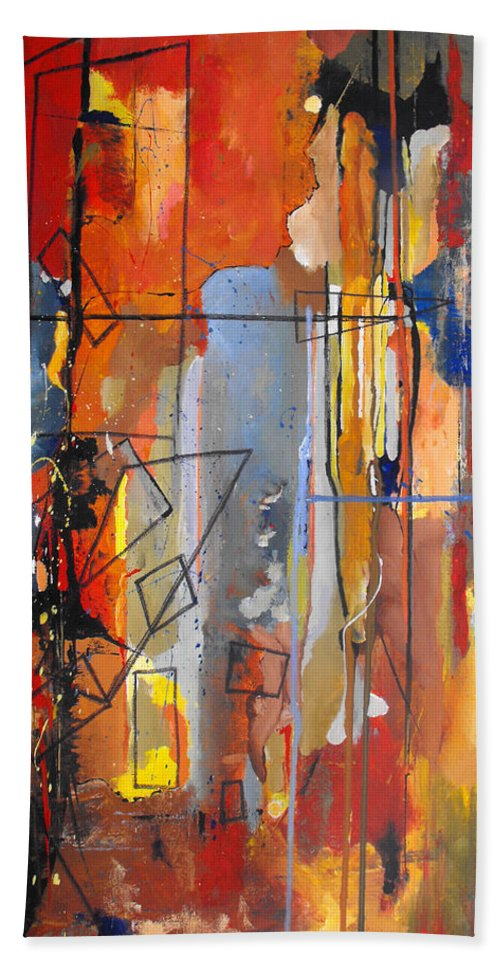 Abstract Hand Towel featuring the painting Rain Down by Ruth Palmer