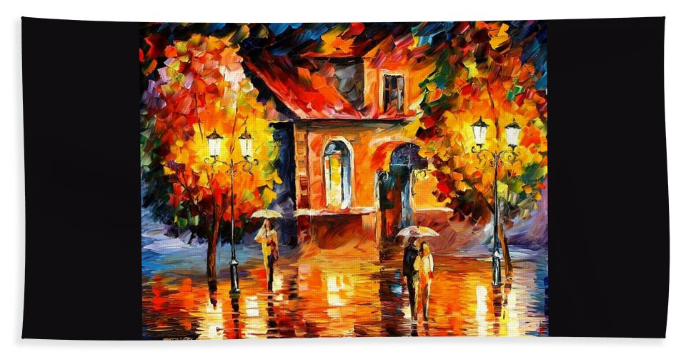 Afremov Hand Towel featuring the painting Rain Impression by Leonid Afremov
