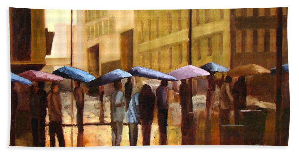 Cityscape Bath Towel featuring the painting Rain In Manhattan Number Seventeen by Tate Hamilton