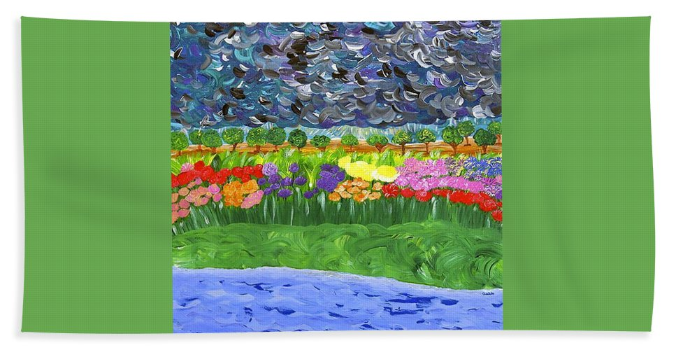 Floral Hand Towel featuring the painting Rain Or Shine by Sara Credito