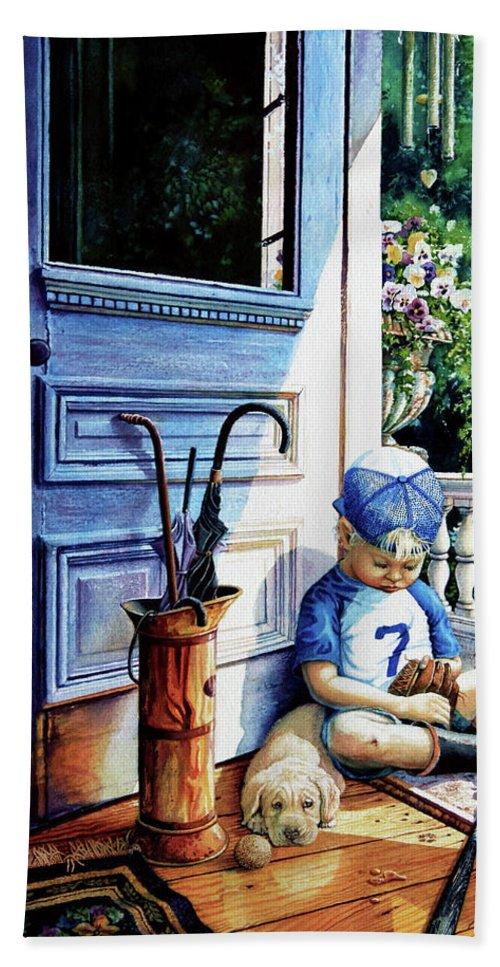 Child Baseball Hand Towel featuring the painting Rain Rain Go Away by Hanne Lore Koehler
