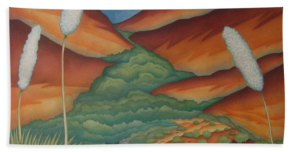 Landscape Hand Towel featuring the painting Rain Trail by Jeniffer Stapher-Thomas