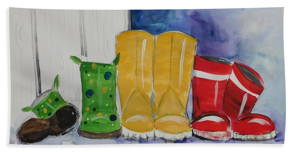 Boots Hand Towel featuring the painting Rainboots by Terri Einer