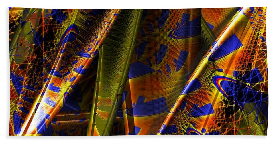 Rainbow Hand Towel featuring the digital art Rainbow Baleen Stack by Ron Bissett