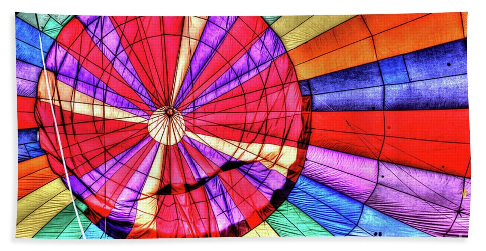 Ascension Hand Towel featuring the photograph Rainbow Balloon by Tommy Anderson