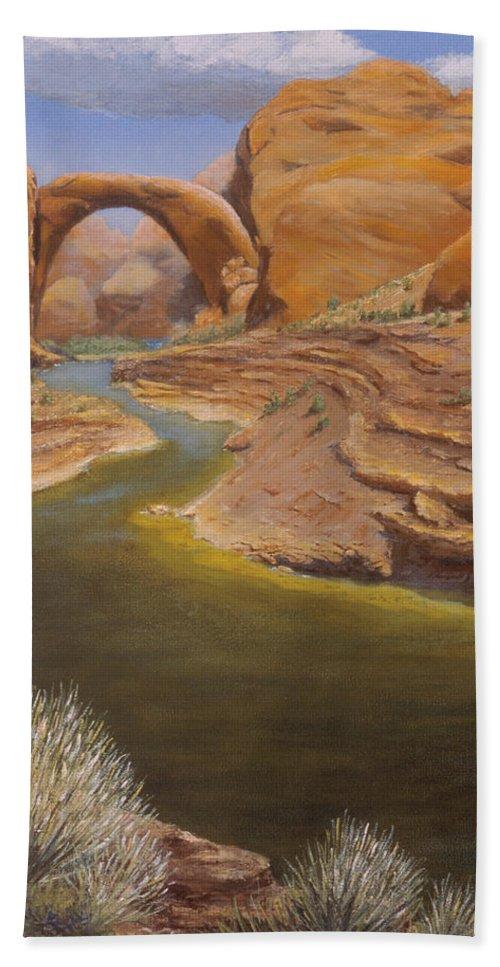 Rainbow Bridge Hand Towel featuring the painting Rainbow Bridge by Jerry McElroy