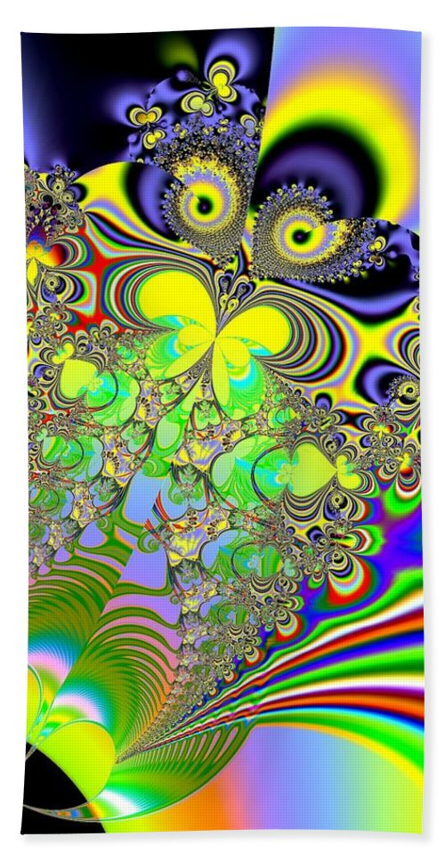 Rainbows Bath Sheet featuring the digital art Rainbow Butterfly Bouquet Fractal Abstract by Rose Santuci-Sofranko