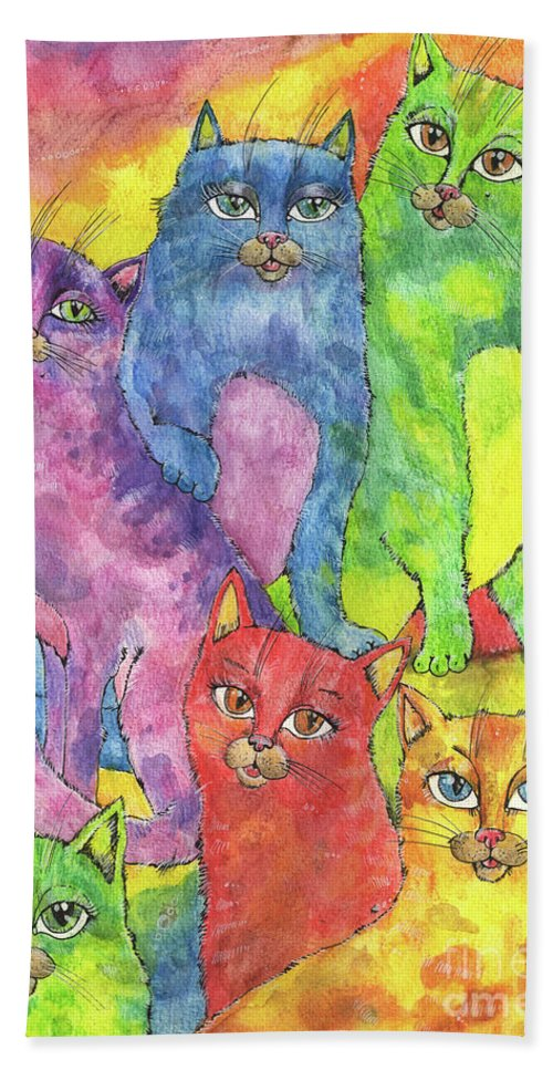 Cfat Bath Sheet featuring the painting Rainbow Cats 2017 07 01 by Angel Ciesniarska