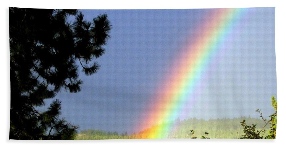 Rainbow Hand Towel featuring the photograph Rainbow Covenant by Will Borden