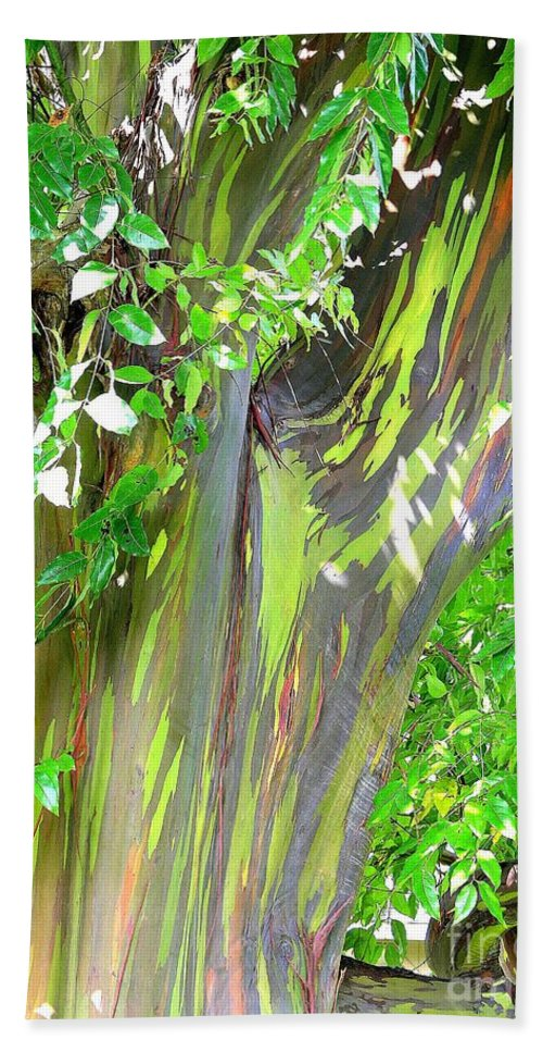Green Bath Sheet featuring the photograph Rainbow Eucalyptus by Mary Deal