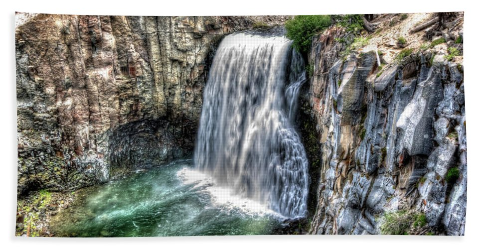 California Bath Sheet featuring the photograph Rainbow Falls 5 by Joe Lach