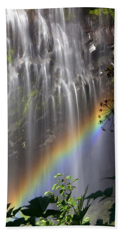 Waterfall Hand Towel featuring the photograph Rainbow Falls by Marty Koch