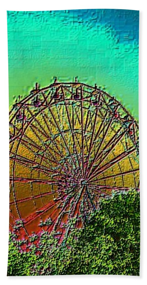 Rainbow Hand Towel featuring the photograph Rainbow Ferris Wheel by Tim Allen