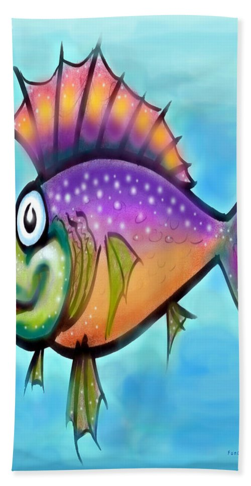 Fish Bath Sheet featuring the greeting card Rainbow Fish by Kevin Middleton