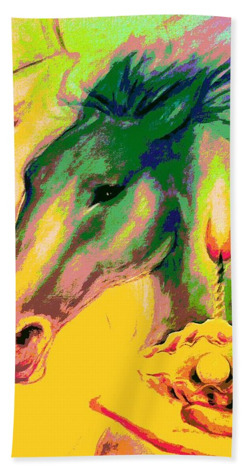 Horses Rainbow Pearl Clam Light Hand Towel featuring the mixed media Rainbow Horses And The Pearl Of Light by Fenlin Lee