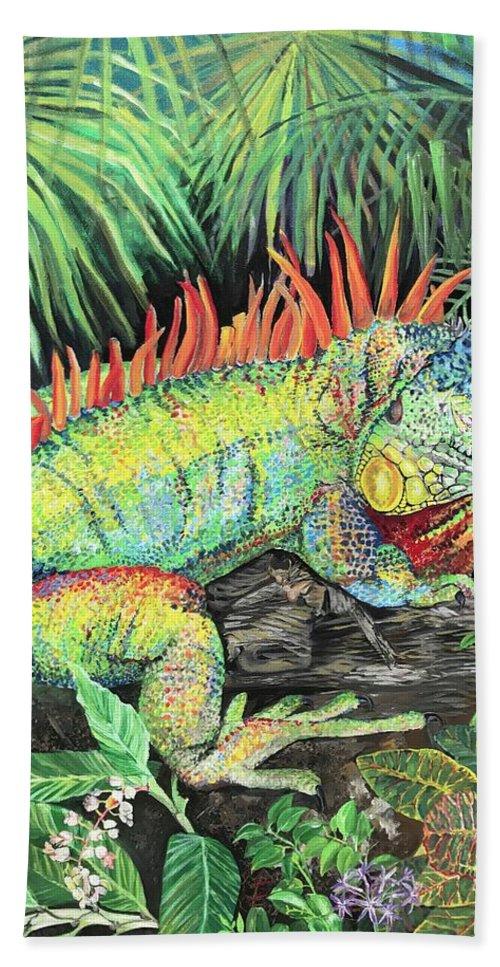 rainbow iguana bath towel for sale by amanda zirzow