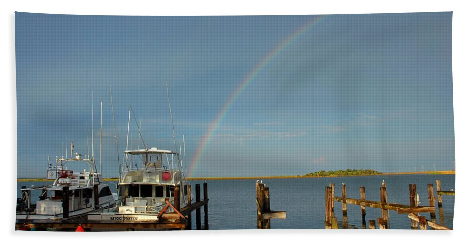 Rainbow Bath Sheet featuring the photograph Rainbow In Apalachicola Fl by Susanne Van Hulst