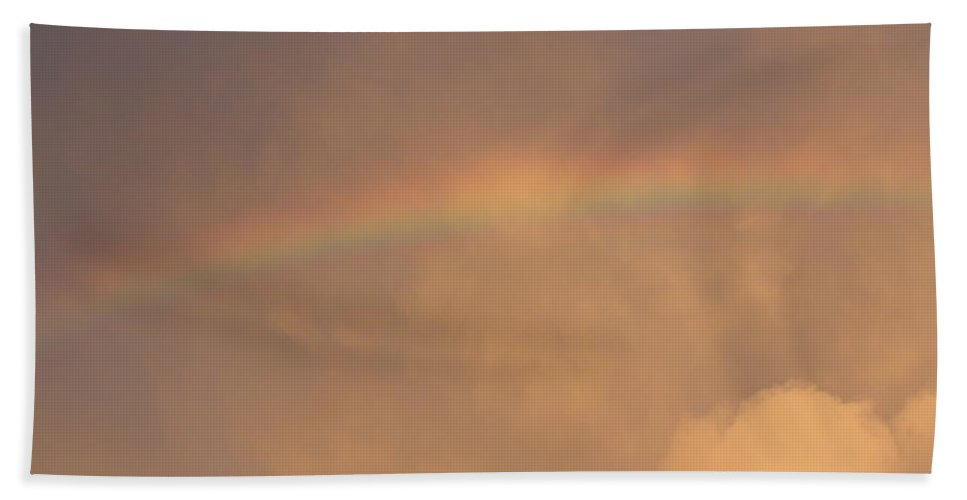 Rainbow Hand Towel featuring the photograph Rainbow In Clouds by Donna Walsh