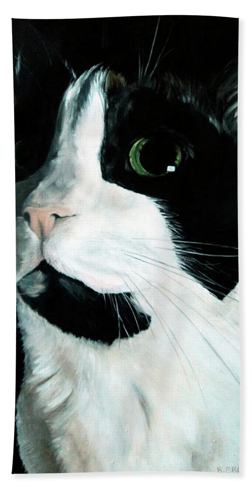 Cat Hand Towel featuring the painting Rainbow Kitty by Becky Brooks