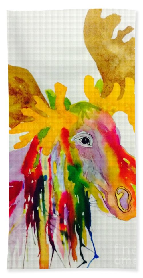 Moose Hand Towel featuring the painting Rainbow Moose Head - Abstract by Ellen Levinson