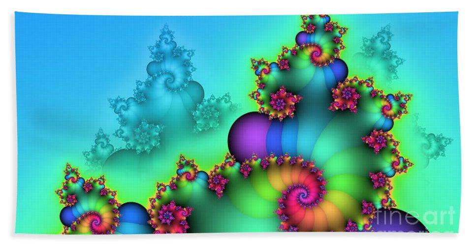 Fractal Bath Towel featuring the digital art Rainbow Mountain by Jutta Maria Pusl