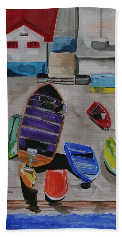 Boats Bath Towel featuring the painting Rainbow On The Dock by Jean Blackmer