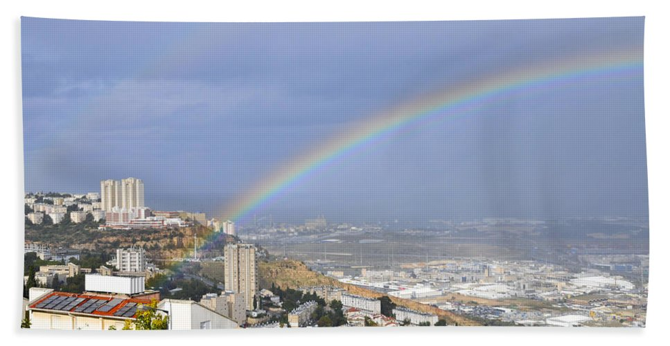 Rainbow Hand Towel featuring the photograph Rainbow Over Haifa, Israel by Shay Levy