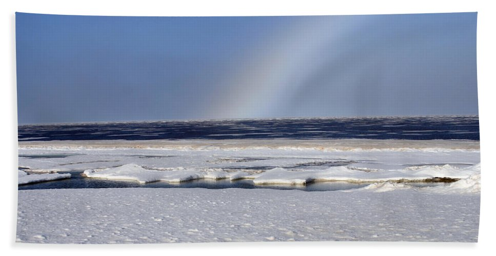 Rainbow Bath Towel featuring the photograph Rainbow Over The Arctic by Anthony Jones