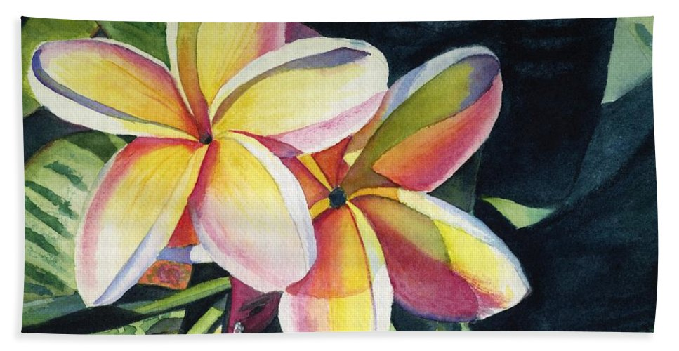 Rainbow Bath Sheet featuring the painting Rainbow Plumeria by Marionette Taboniar