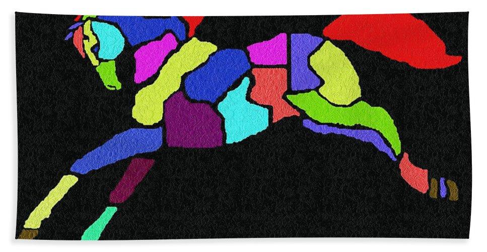 Digital Hand Towel featuring the digital art Rainbow Pony by Sara Raber