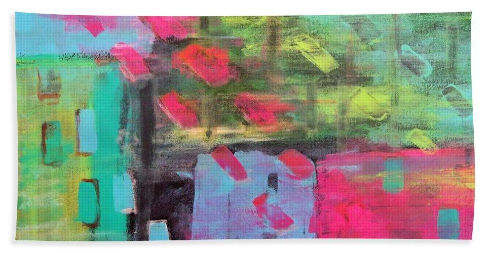 Abstract Bath Sheet featuring the painting Rainbow Rain by Tamara Savchenko