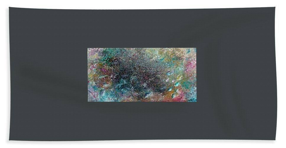 Original Abstract Painting Of Under The Sea Hand Towel featuring the painting Rainbow Reef by Karin Dawn Kelshall- Best