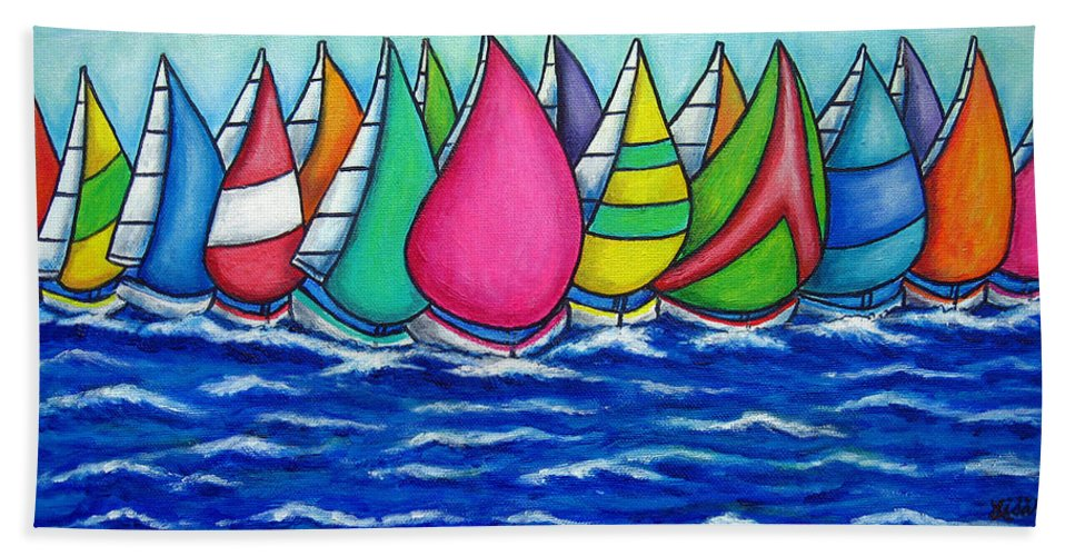 Boats Hand Towel featuring the painting Rainbow Regatta by Lisa Lorenz